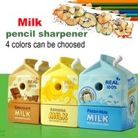 Wholesale A cute cartoon pencil sharpener excellent students with good milk box pencil sharpener one piece Random Color