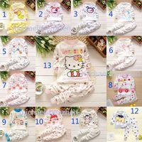 Cheap 13 Design Boy girl Hello kitty panda monkey puppy Pajamas children DHL Cotton cartoon INS long Sleeve + Pants 2pcs Suits baby clothes B001