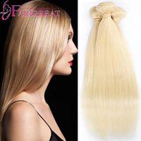Cheap Brazilian Human Hair Extensions Straight 3 Bundles Brazilian Virgin Hair Wave Bundles Color 613 Platinum Bleach Blonde Best selling hair