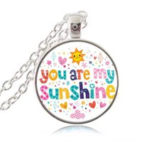 accessory quotes - You are My Sunshine Letters Pendant Colorful Quote Necklace Words Jewelry Glass Cabochon Photo Choker Neckless Women Fashion Accessories