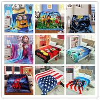 Wholesale 123 Designs Avengers Spiderman Minions Paw frozen princess thomas sofia mcqueen car pooh mickey superhero batman KT blankets cm