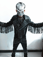 Wholesale Personality Men s Stage Wear Rock Punk Hippop Clothing The band DJ Rrivet Tassel Leather Jacket Fashion Motorcycle Jacket