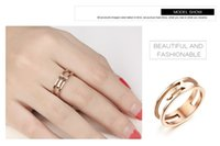 Wholesale Elegant Rose Gold Plated Finger Ring Set Stainless Steel Key Tail Ring for Women High Polish Fashion Jewelry Size