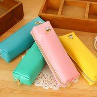 Wholesale High Quality PU Pencil Bag Cute High capacity Zipper Pencil Case Writing Supplies Cute Prize Gifts Papelaria