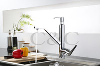 Wholesale New Design Faucet Chrome Silver Swivel Kitchen Sink Mixer Tap Kitchen Faucet Vanity Faucet With Soap Dispenser