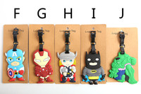Wholesale The new Q version of the hero alliance Captain America batman Spider man superhero series of luggage tag DHL