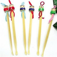 Wholesale Natural bamboo Ershao ear curette earpick puller wooden doll g cartoon version Chinese earpick