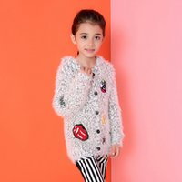 Wholesale Fashion Baby Girls Cardigan Sweater Kids Long SleeveTops Children Solid Color lettered Cashmere Sweaters Clothing Girls Clothes Kids Clothes