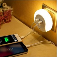 auto emergency light - Smart Design LED Motion Night Light with Light Auto Sensor Dual USB Wall Plate Charger Socket Soft Lamp for Bathrooms Bedrooms Decor