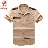 Casual Shirts Short Sleeve Cotton Wholesale-Fashion New Men's Tactical Cargo Shirt Military Tool Army Style Cotton High Top Short sleeve Casual Camisa Khaki Black Green -XL