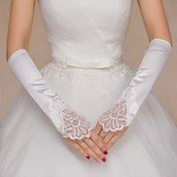 al por mayor fingerless wedding gloves white-2017 sin dedos guantes de satén blanco de encaje guantes de codo linea de accesorios de boda de la vendimia vestido de las señoras guante guantes de novia