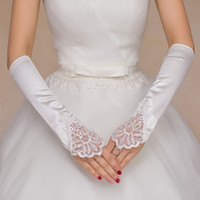 Wholesale 2017 white fingerless elbow gloves lace satin gloves vintage wedding acessories ladies dress gloves bridal glove