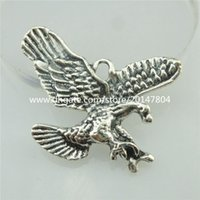 alloy hawk - 18585 Vintage Silver Alloy Flying hawk Eagle Dangle Pendant Filigree Jewelry