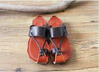 art kitten - Elsa Shoes Top Fashion Brown Women Kitten Heel Genuine Leather Pu Us5 New Zen Art Sandals Retro Toe Leather Female Slip Flat In Summer