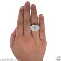 Cheap 100% Natural 6.63CT 18K White Gold Princess Cut Diamond Engagement Ring EGL Cert