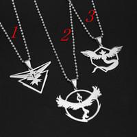 Wholesale Newest Poke Pendant Necklaces Three Team Instinct Mystic Valor Stainless Steel Pendant Necklace Poket Monster Fan Souvenirs