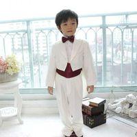 Wholesale 2016 New Children s Gentlemen Tuxedo Suit Boys Wedding Events Suit Boy s Attire Groom Tuxedo Jacket Pants Bow Girdle