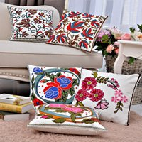 Wholesale Embroidery Flowers Cushion X45CM Cotton Pillow Cover Sofa Pillows Decorative Pillow Throw Pillow