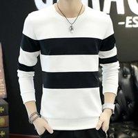 Wholesale Spring men s long sleeved t shirt striped clothes men spring white shirt Slim compassionate male Korean jacket tide