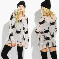 Wholesale New Knitwear Women Novelty Casual Blouse Cat Head Pattern Hollow HOLE Hem Sheer Knitted Pullover Sweater shirt D11