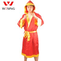 Wholesale wesing satin red boxing robe fit for sanda muay thai boxing