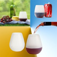 Wholesale New Arrivals Unbreakable Clear Rubber Wine Glass Silicone Cup Outdoor Drinkware Stemless Colorful Collapsible Portable JA156