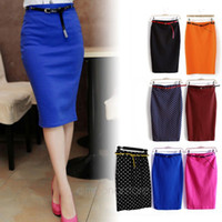 Wholesale CARZY Candy Color Vintage Women Elastic Slim Medium long High Waist Skirt Stretch Pockets Hip Pencil Skirt with Belt HE1421