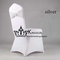 Wholesale White Spandex Chair Cover Lycra Chair cover With Silver Color Lycra Band Spandex Chair Band With Buckle