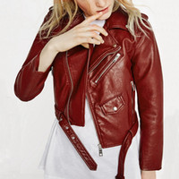 Wholesale 2016 New Fashion Women Wine Red Faux Leather Jackets Lady Bomber Motorcycle Cool Outerwear Coat with Belt Hot Sale