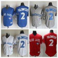 Cheap Toronto Blue Jays #2 Troy Tulowitzki White GRAY Blue Red Home Road Wholesales Cheap American baseball jerseys Embroidery Logo Mix Order
