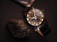 antique leather cases - Watches Men Bracelet Leather Round Case Shape Analog Steel Skeleton Unisex Antique Quartz watch Men reloj hombre