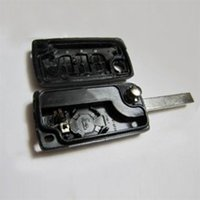 Wholesale 3 Buttons Uncut Blade Flip Folding Remote Key Case Shell key protection cover Replacement for PEUGEOT hot
