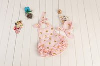 baby clothes stock - In stock fashion baby girls ruffle gold polka dots romper infant toddler boutique clothes cheap baby bodysuit romper with headband