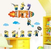 Wholesale 2015 Cartoon Minions Wall Decals Eden Art DIY Home Decor Art Removable Wall Stickers Nursery Kids Room