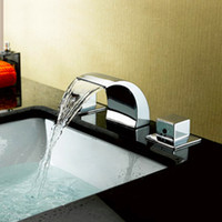 basin tap sets - LED Bathtub Basin Sink Waterfall Spout Mixer Tap Chrome Faucet Set