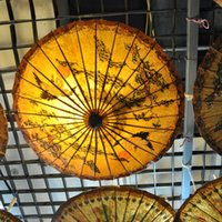 Wholesale Hand made Thailand Style Oiled Paper Parasol Classical Decorative Craft Umbrella Bamboo Wooden Handle