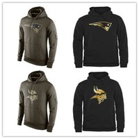 active long sleeve - Men s Fashion Vikings Black Gold Collection Pullover Hoodies Olive Green Patriots American Football Hoodies Sweatshirts