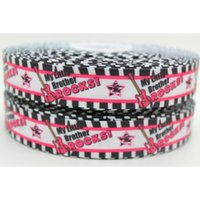 big brothers rock - 7 quot mm Popular Music My Big Brother Rocks Printed Grosgrain Ribbon Bow Craft Deco DIY Party Hair Accessory A2