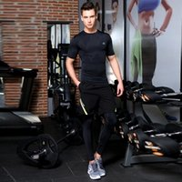 Wholesale Men s Fitness Stretch Leggings Short Sleeved Pants Sets Suit Quick Dry Training Clothes