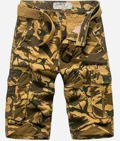 belted cargo shorts - Men Casual Cargo Shorts Army Camouflage Multi pocket Shorts men Canvas denim Loose Shorts knee length Plus Size with free Belt