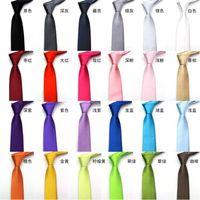Wholesale New CM leisure British style Neck tie Students Solid Narrow tie Colors bright Gravat Neck wear Women men for Wedding Prom