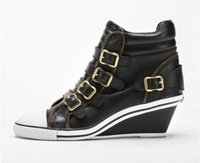 ash genial - Ash Genial Buckle Zipper Wedge Sneakers Black Gold High top Genuine Leather Ankle Boots Fashion Trainers Hot Sale Casual Shoes Size
