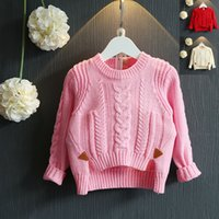 Wholesale Pullover sweaters newborn Kids Girls Knit long sleeve sweaters bows Fall Winter outwear knit sweaters children s clothes