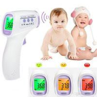Wholesale 2016 Free DHL Digital Electronic Baby Infrared Thermometer Multi Function Forehead Color Alarm Three Color Backlight HTD8808