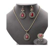 austrian bronze - Fashion Ruby Jewelry Set All Over Sky Star Austrian Crystal Ancient Bronze Three Piece Wedding Accessories Turkey Jewelry