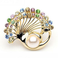 Wholesale Fashion delicate Colorful Rhinestone Crystal Faux Pearl Brooch Peacock Scarf Buckle Brooches Pin tony749
