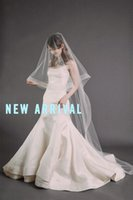 best crochet yarn - Top Quality Best Sale Romantic White Ivory penciledge mantilla veil chapel Bridal VeilS