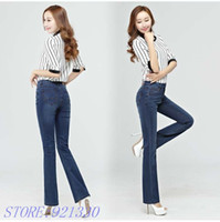 Wholesale High Quality Promotion Summer Thin Women s Slim Mid Waist Boot Cut Jeans Fashion Bell Bottom Trousers Flares Pants