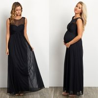 absolutely custom - absolutely gorgeous maternity evening dresses meshed neckline and ruched bust a line full length black chiffon formal occasion evening gowns