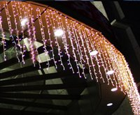 Wholesale Curtain Lights 1m Drop - wide 12m * drop 1m LED Curtain Light String ICICE Christmas Garden Decoration Party Wedding Holiday Flash String Fairy Lamp
